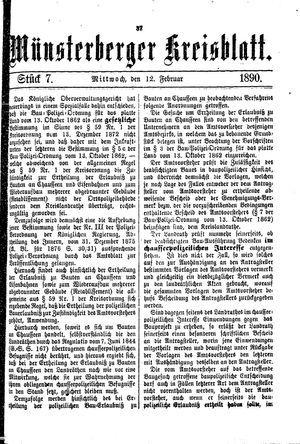 Münsterberger Kreisblatt vom 12.02.1890