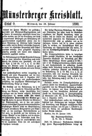 Münsterberger Kreisblatt vom 26.02.1890