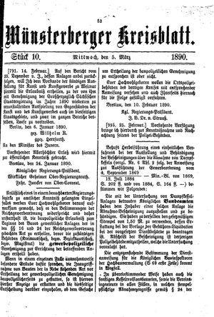 Münsterberger Kreisblatt vom 05.03.1890