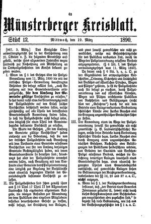 Münsterberger Kreisblatt vom 19.03.1890