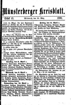 Münsterberger Kreisblatt vom 26.03.1890