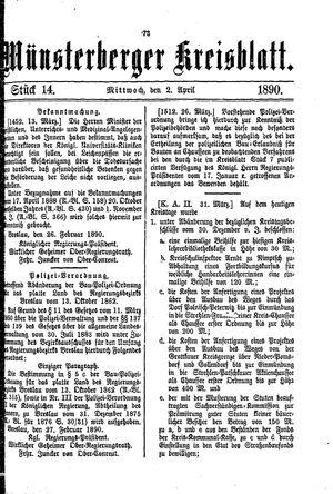 Münsterberger Kreisblatt vom 02.04.1890