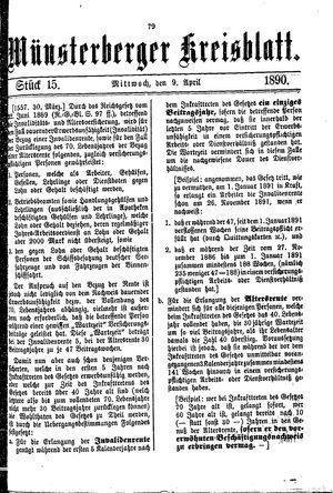 Münsterberger Kreisblatt vom 09.04.1890