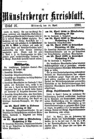 Münsterberger Kreisblatt vom 16.04.1890