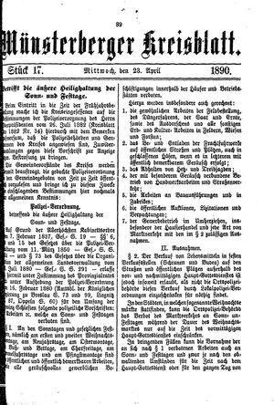 Münsterberger Kreisblatt vom 23.04.1890