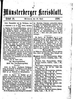 Münsterberger Kreisblatt vom 30.04.1890