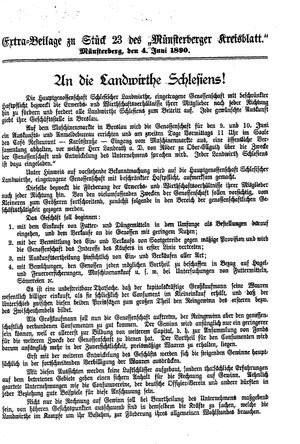 Münsterberger Kreisblatt vom 04.06.1890