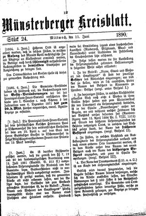 Münsterberger Kreisblatt vom 11.06.1890