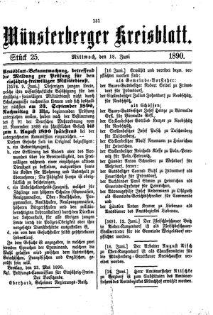 Münsterberger Kreisblatt vom 18.06.1890