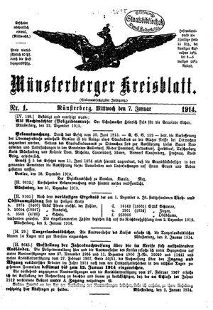 Münsterberger Kreisblatt vom 07.01.1914
