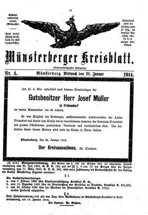 Münsterberger Kreisblatt vom 28.01.1914