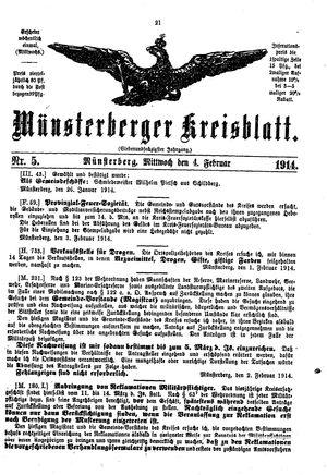 Münsterberger Kreisblatt on Feb 4, 1914