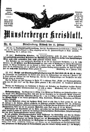 Münsterberger Kreisblatt vom 11.02.1914