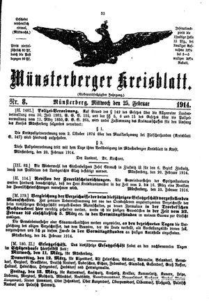Münsterberger Kreisblatt vom 25.02.1914