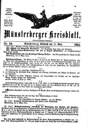 Münsterberger Kreisblatt vom 11.03.1914