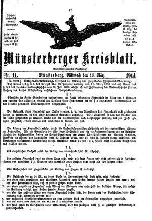 Münsterberger Kreisblatt vom 18.03.1914