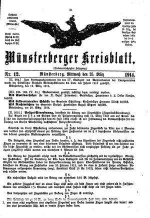 Münsterberger Kreisblatt vom 25.03.1914