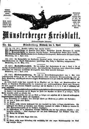 Münsterberger Kreisblatt vom 08.04.1914
