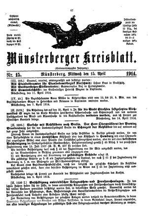 Münsterberger Kreisblatt vom 15.04.1914