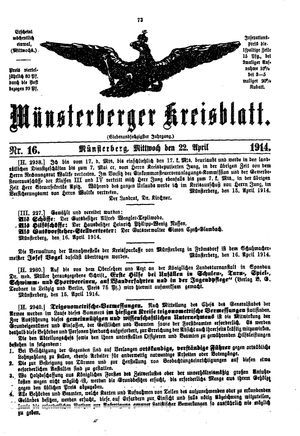 Münsterberger Kreisblatt vom 22.04.1914