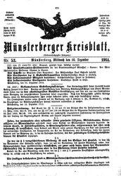 Münsterberger Kreisblatt (16.12.1914)
