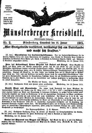 Münsterberger Kreisblatt vom 16.01.1915