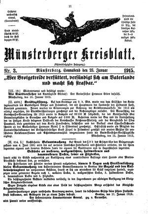 Münsterberger Kreisblatt on Jan 23, 1915