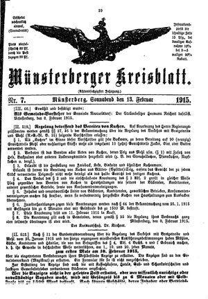 Münsterberger Kreisblatt vom 13.02.1915