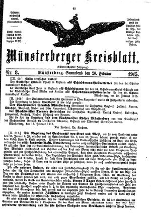 Münsterberger Kreisblatt vom 20.02.1915