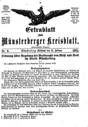 Münsterberger Kreisblatt vom 24.02.1915