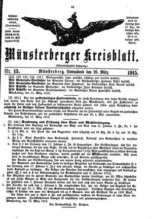 Münsterberger Kreisblatt vom 20.03.1915