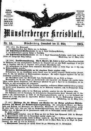 Münsterberger Kreisblatt vom 27.03.1915