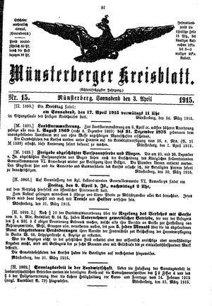 Münsterberger Kreisblatt vom 03.04.1915
