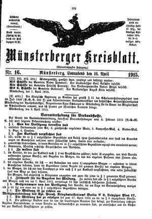 Münsterberger Kreisblatt vom 10.04.1915