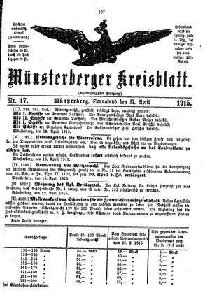 Münsterberger Kreisblatt vom 17.04.1915