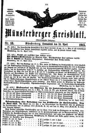 Münsterberger Kreisblatt vom 24.04.1915