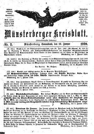 Münsterberger Kreisblatt on Jan 10, 1920