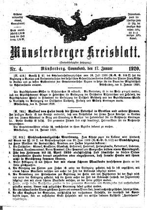 Münsterberger Kreisblatt vom 17.01.1920
