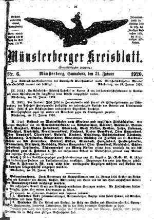 Münsterberger Kreisblatt vom 31.01.1920