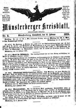 Münsterberger Kreisblatt on Feb 14, 1920