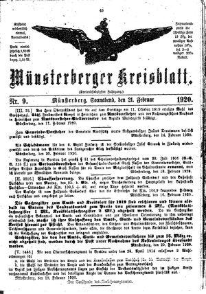 Münsterberger Kreisblatt on Feb 21, 1920