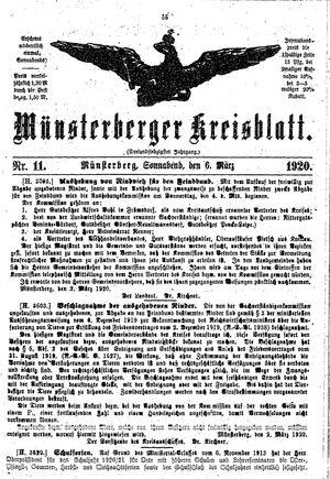 Münsterberger Kreisblatt vom 06.03.1920