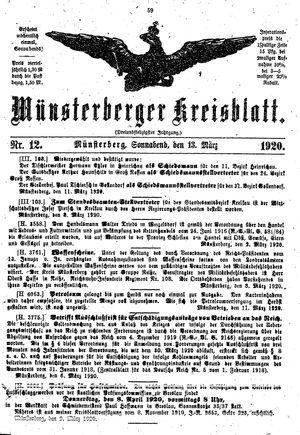 Münsterberger Kreisblatt vom 13.03.1920