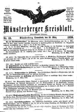 Münsterberger Kreisblatt vom 20.03.1920