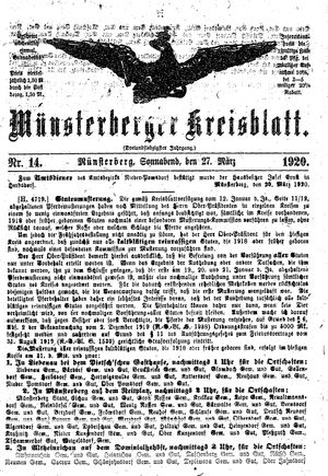 Münsterberger Kreisblatt vom 27.03.1920