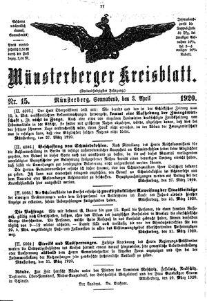 Münsterberger Kreisblatt vom 03.04.1920