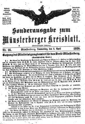 Münsterberger Kreisblatt vom 08.04.1920
