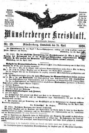 Münsterberger Kreisblatt vom 24.04.1920
