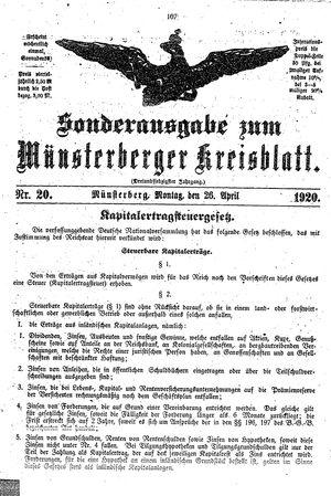 Münsterberger Kreisblatt vom 26.04.1920