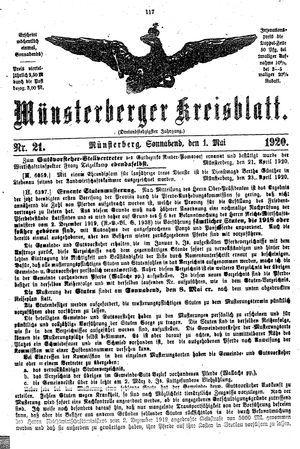 Münsterberger Kreisblatt vom 01.05.1920
